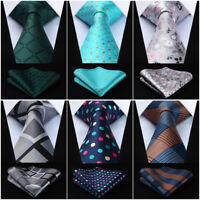 Hisdern Men's Ties Woven Necktie Handkerchief Set Classic Wedding Party# TG7