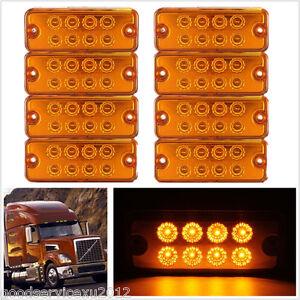 8 Pcs DC12V Yellow 8LED Car Truck Trailer Side Marker Light Super Bright Lamp