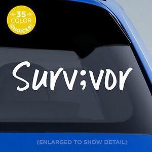 SURV;VOR Semi colon Vinyl Decal Handwritten Style #1 Survivor semicolon sticker