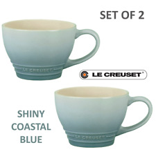 New listing New Le Creuset Stoneware Set of 2 Bistro Mugs Cup 14oz 400ml Coastal Blue