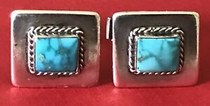 Vintage 925 STERLING SOUTHWEST NATIVE AMERICAN INDIAN SQUARE TURQUOISE CUFFLINKS
