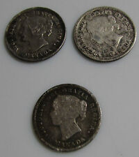 Canada 5 Cents Silver 1891 1899 1901 Lot Of 3 Queen Victoria