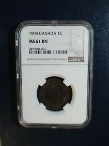 1904 Canada LARGE Cent NGC MS61 BN 1C Coin PRICED TO SELL RIGHT NOW!