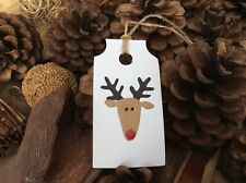 CHRISTMAS REINDEER GIFT TAGS (6 WITH TWINE) WHITE