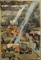 Russian Ukrainian Soviet Oil Painting industrial realism factory plant workshop