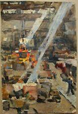 Russian Ukrainian Soviet Oil Painting industrial realism factory plant workshop