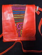 Unique Leather with MOLA Shoulder/Crossbody Handbag Made in Colombia (Orange)