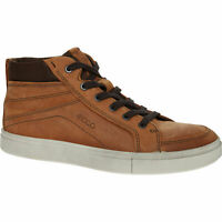 £200 ECCO Kyle Brown Oiled Nub Comfy Cushioned Worn Look HiTop Trainer UK 11