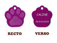 medaille gravee chien ou chat - modele petite patte de chat calinette - violette