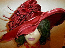 RUSTY BURGUNDY SATIN DESIGNER COLLAPSIBLE LADIES DERBY FASHION HAT NEW WITH TA