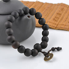 Chinese Style Wood Buddha Beads Buddhist Prayer Tibet Bracelet Mala Bangle Wrist