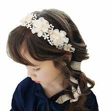 Laimew flor de encaje de boda diadema con cinta larga, vestido de princesa, acce