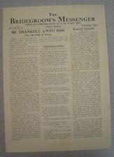 Bridegroom's Messenger - Nov 1953 - Pentecostal Periodical - Atlanta, Georgia