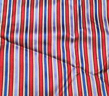 "Silk BROCADE Fabric RED WHITE & BLUE STRIPE 8""x27"" remnant"