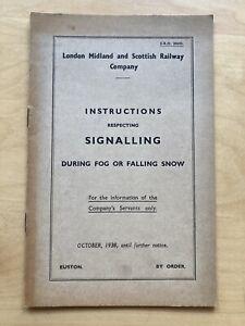 1938 LMS Euston ERO 20443 Instructions Signalling During Fog Or Falling Snow
