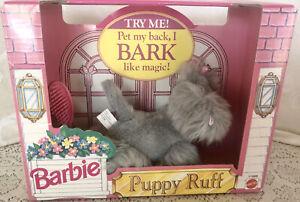 New 1993 Barbie Dog Puppy RUFF Gray Fur & Brush Needs Battery NRFB