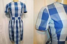 Vintage 60s Day Dress JOAN NORTON IRWIN Original Blue Plaid Side Hook Eyes XS S