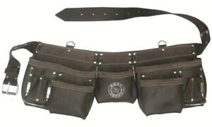 11 Pocket Oil Tanned Leather Contractors Tool Bag Belt / Tool Apron