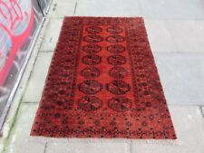 Vintage Hand Made Traditional Afghan Oriental Wool Red Small Rug 150x104cm
