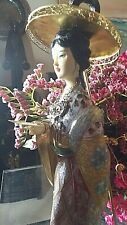 "New Listing14"" In Vintage Cloisonne Asian Woman/Carved Face And Hands"
