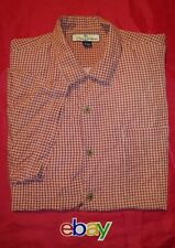 TOMMY BAHAMA Men's sz L 100% SALMON RED GINGHAM CHECK Hawaiian Camp Shirt EUC !