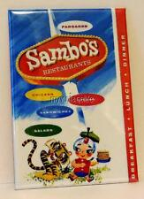 "Vintage SAMBO'S RESTAURANT MENU COVER 2"" x 3"" Fridge MAGNET Art FOOD PANCKAES"