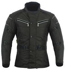 Mens Black Motorcycle Motorbike Jacket Waterproof CE Armoured Reflective S-12XL