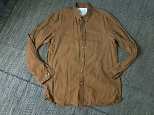 MUJI Adult Mens XL Button Down Shirt Brown