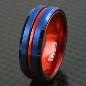 Blue Tungsten Men's Thin Red Line Wedding Band Ring - Superhero Colors