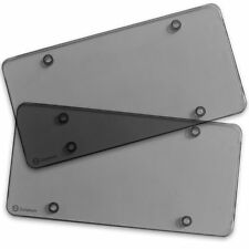 Zone Tech 2x Smoked Flat License Plate Cover Shield Tinted Plastic Tag Protector