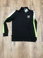 Mens 11 Degrees Tracksuit Panelled Polly Top Black & Line Green , In Size Small