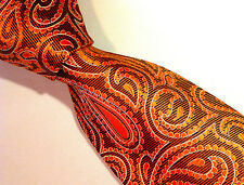 NWT$220 Ermenegildo Zegna Orange/Silver/Black Woven Silk  Made In Italy