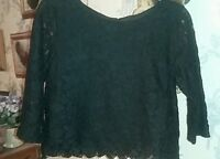 girls black lace top 9-10 years