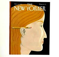 Vintage October 1989 New Yorker Magazine Cover No Pencil Woman Art Kathy Young