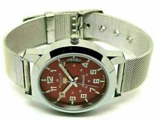 Seiko 5 automatic men's steel 6309 nice red dial vintage japan watch run order