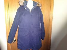 NEW WOMEN'S JCP NAVY BLUE COAT W/ REMOVABLE HOOD MSP $200.00 SIZE M