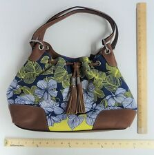 Chaps Navy Blue With White & Yellow Flowers Hand Bag Purse Tote - FLASH SALE