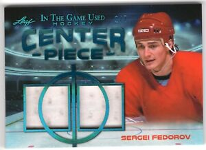 SERGEI FEDOROV 2020-21 Leaf In the Game Used CENTER PIECE dual JERSEY #2/7