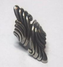 Oxidized Artisan Styled Wide Sterling Silver Wrap Band Ring Sz 4 1/2 as Set