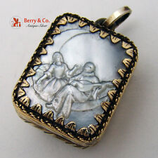 Reuge Miniature Music Box Italy Carved Mother of Pearl Gilt Sterling Silver 1960