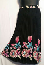 Women Clothing Long Skirt Elastic High Waist Pleated Black Pink Free Size