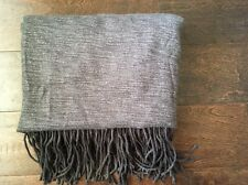 New West Elm Charcoal Gray Cashmere Fringed Throw Blanket Acrylic 44 X 56
