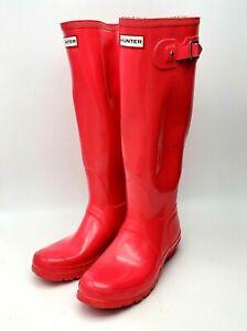 Hunter Women Original Classic Tall Rain Boots Rubber Size 8 Gloss Pink W23616