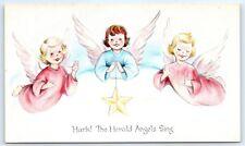 Postcard Christmas Vintage Hark The Herald Angels Sing Star D5