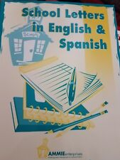 A lot of 4 Spanish English school resource books letters, reports, terms, office