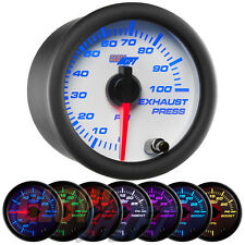 GlowShift White 7 Color 100 PSI Exhaust Drive Pressure Gauge - GS-W723_100