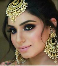 Indian Bollywood Women Gold Plated Pearl Earring & Tikka Party Fashion Jewelry