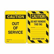 Brady 842390 Caution Out of Service Tags Lockout Tagout LOTO - Poly - 10 Pack
