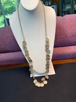 Vintage Shiny Gold Bohemian Texture Coin Necklace Single Strand 34 Inches Long