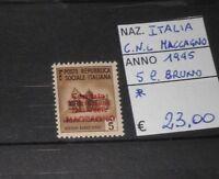 "FRANCOBOLLI ITALIA 1945 ""C.N.L. MACCAGNO"" 5 CENT. BRUNO MH* (CAT.2)"